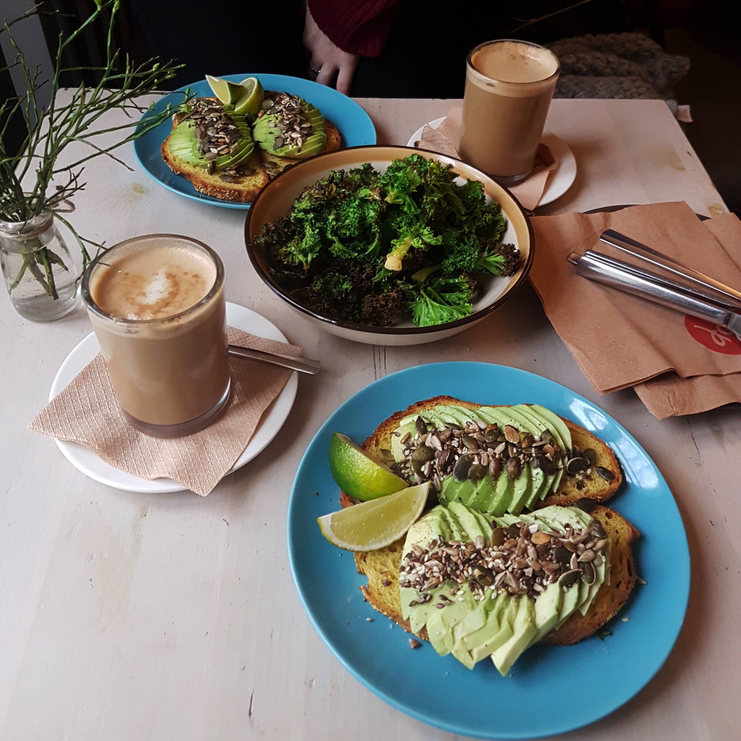 avocado on toast and kale chips at NOP Tallinn